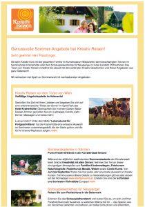 Screenshot Newsletter Kreativ Reisen Österreich